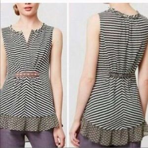 Anthropologie Tops - ☀️ANTHRO One September striped ruffle tank top